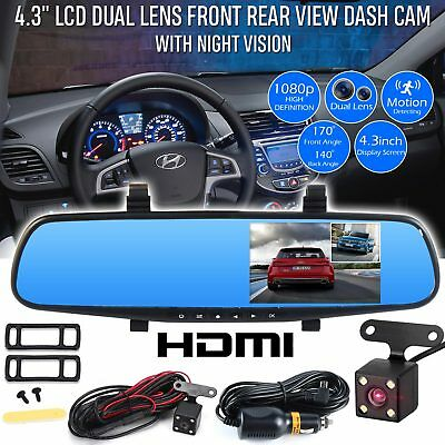 "4.3"" Car DVR 1080P HD Dual Lens Auto Dash Video Mirror Cam Record Rear Camera"