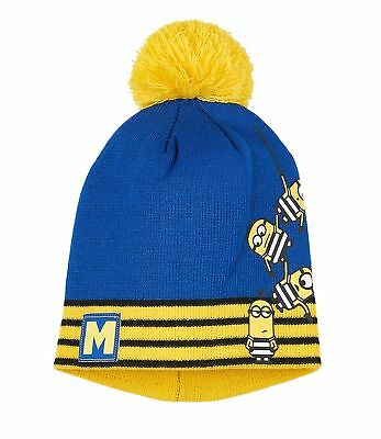 Boys Girls Kids Official Licensed Minions Despicable Me Blue Yellow Winter Hat