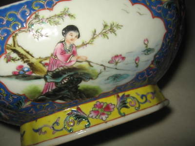 Antique Chinese Famille Rose Footed Square Serving Bowl