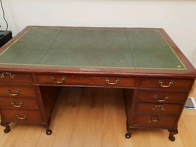 Antique Style Reproduction Writing Partners Desk, Green Leather Top
