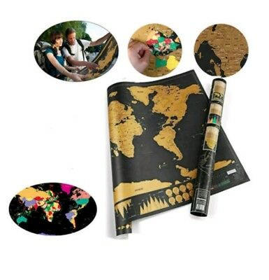 Deluxe Scratch Off World Map Journal Log NEW In Box Travel Map