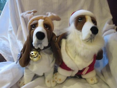 2 Vintage Basset Hounds plush stuffed animal dogs with tags Hush Puppy Applause