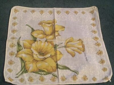 Floral Cotton Handkerchief Yellow ~ FLOWERS SOFT COTTON VINTAGE TREASURE