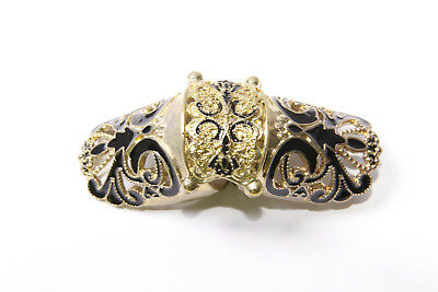 Antique Style Large Copper&Black Ornamental Double One Finger Ring (T335)