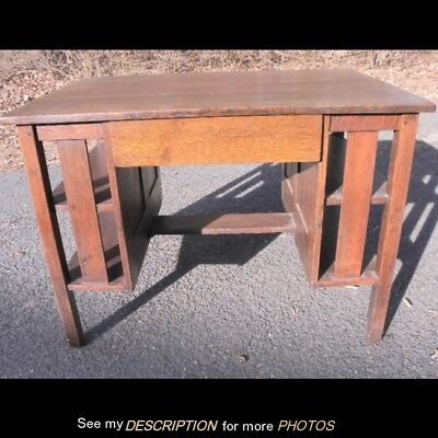 Antique Stickley era Oak Arts & Crafts Mission Flat Top Desk