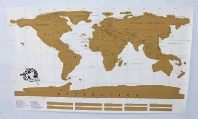 Deluxe Scratch Off World Map Journal Log NEW In Box Travel Map White