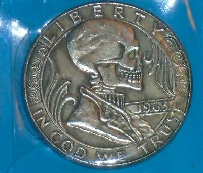 Hobo Style 1963 Franklin Non-Silver Half Dollar SKULL Novelty Fantasy Coin
