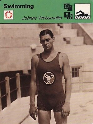 "Johnny Weissmuller~The Swimming Tarzan Bio Card~4.75"" X 6.25""~New"