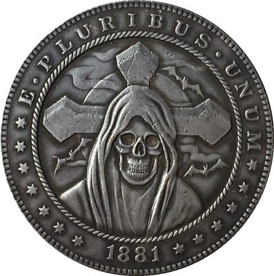 Dollar Size Hobo Nickel Style SKULL CROSS BATS Coin 1881-CC Morgan