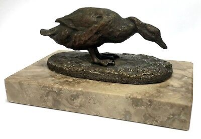 Stunning Antique French Bronze Miniature Duck / Goose On Marble Base