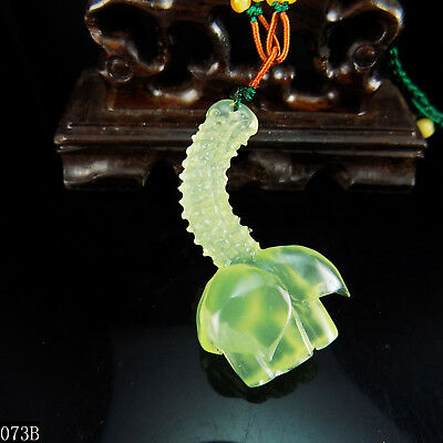 100% Natural 3D Hand-carved Icy Jade Pendant jadeite Necklace lotus flower 073b