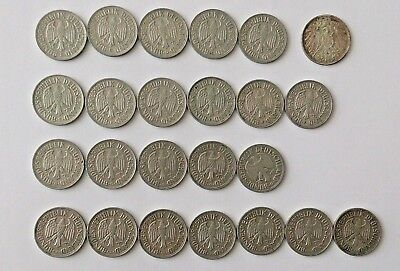 1 Deutsche Mark Lot of 24 Coins 1914-1968 No Duplicates
