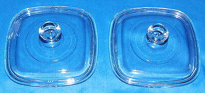 NEW! 2 Replacement PETITE GLASS LIDS For Corning Petite Dishes P-41 & P-43 MINT
