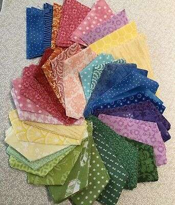 COLORFUL COTTON FABRIC DRESDEN PLATE Quilt Wedges, 80 Complete, No Raw Edges