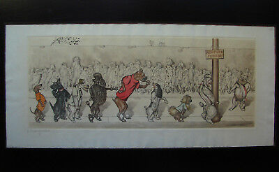 """Vintage Framed Signed BORIS O'KLEIN Etching """"L'Inauguration"""" - Dogs"""