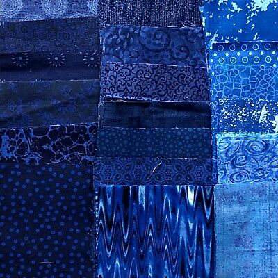 120 Assorted Squares 4.5 x 4.5, All Blue 100% cotton fabric Quilting, Charm Pack
