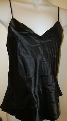 vintage WONDER MAID BLACK wet look GLOSSY SATIN charmeuse camisole top size 36