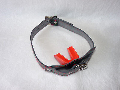 locking leather strap RED DOUBLE MOUTH GUARD GAG gum shield ballgag mouth ball