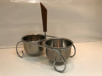 Mid Century Condiment Serve 2 Stainless Bowls Caddy Wood Handle