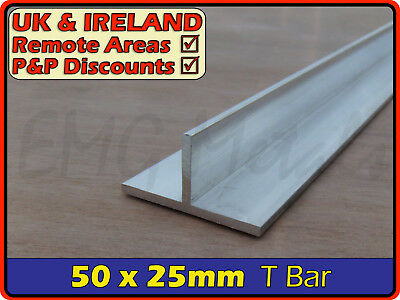 Aluminium Tee Bar ║ aprx 50mm x 25mm ║ T profile,section,alloy,trim,joint,edging