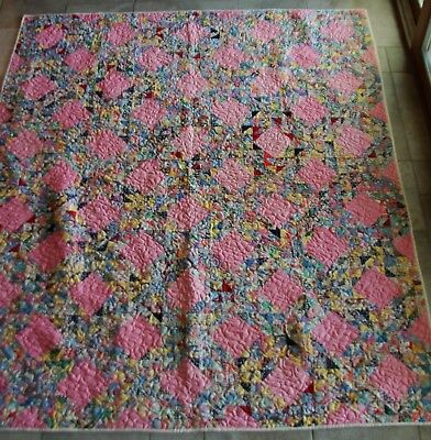 Vintage 1930's Multi - Colored Textured Quilt