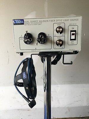 Cuda Dual Quartz Halogen Fiber Optic Light Source w/ Head Light Set, Pre-Owned
