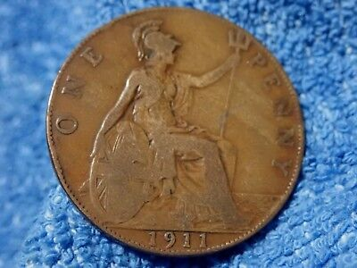 England: 1911 Scarce Large Penny Very Fine! First Year Coin Of King George V