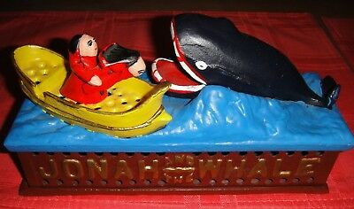 """""""Jonah And The Whale"""" Working Cast Iron Bank Modern Bright Colors!! Excellent!!!"""