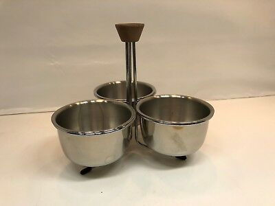 Mid Century Condiment Serve 3 Stainless Bowls Caddy Wood Handle