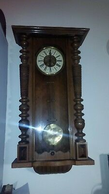 Antique German Vienna Wall Clock 1890 to 1925 'Mauthe' movement - Working