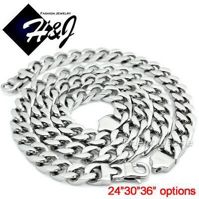 "24""30""36""MEN Stainless Steel 11mm Silver Cuban Curb Chain Necklace Bracelet SETS"