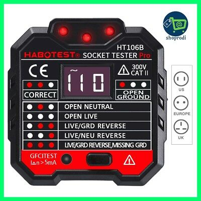 HT106B Socket Outlet Tester Circuit Polarity Voltage Detector Wall Plug Breaker