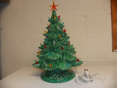 """Vintage Lighted Ceramic Christmas Tree 18"""" Tall With Base"""