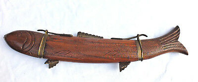 Antique carved wooden & brass carp fish Japanese Oriental Display