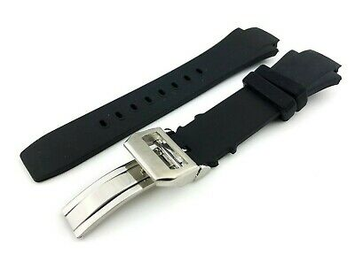 26mm Black Rubber/Silicone Strap/Band Buckle fit IWC AQUATIMER watches + pins
