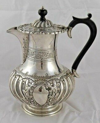 SUPERB LARGE VICTORIAN SOLID STERLING SILVER WATER JUG COFFEE POT 1895 709 g