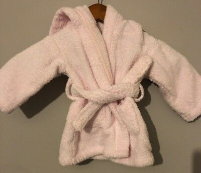 The Little White Company Baby Girl Dressing Gown 0/6 Months Pink Towelling.
