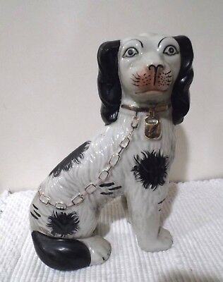 "English 9 3/4""  ""king Charles Spaniel Figurine"" White~Black W/gold Accents"