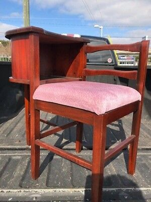 Vintage 1950s Telephone Chair. Mahogany with upholstered seat.Great Shape!