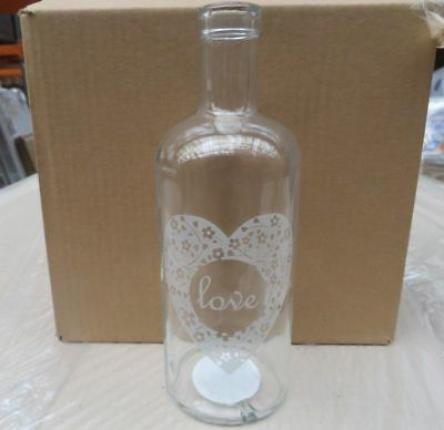 Wholesale Job  48 X Brand New 'love' Clear Glass Vases Rrp 6.99