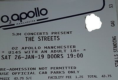 The streets 1 standing tickets. Manchester  26th Jan. £40 o.n.o