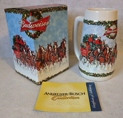 """Beer Mug Stein Cup : Budweiser 2009 Holiday Horse w/ Box """"A Holiday Tradition"""""""