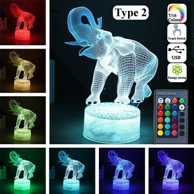 Remote Control Touch Switch Animal 3D Elephant LED 7/16 Color Night Light