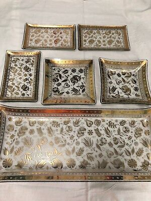 Lot Of 6 Georges Briard Persian Garden Gold Glass Trays MCM