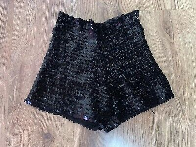 Vintage 1970s Stretch Wool Sequin Hot Pants Shorts 8