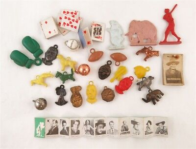Lot of Vintage Cracker Jack Gum Ball Machine Charms, Toys, & Geronimo Photo