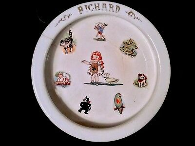 Antique childs dish Drayton Campbells Soup Kid Cat Dog Frog Parrot RICHARD
