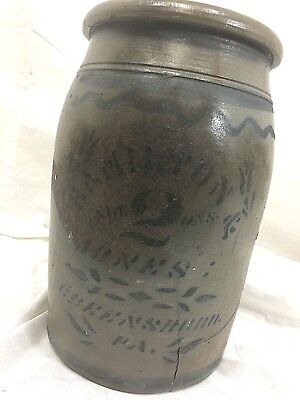 Rare Beautiful # 2 Hamilton and Jones Stenciled Crock Greensboro Pennsylvania