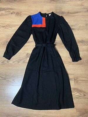 Vintage 1980s Black Dress Colour Block Dolly Day Pure Wool 8/10 UK