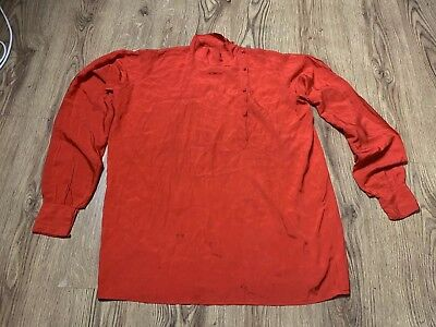 Vintage Antique Red Silk Shirt Artists Blouse Deco Large